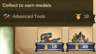 Collect Advanced Tools - 18 Medaillen